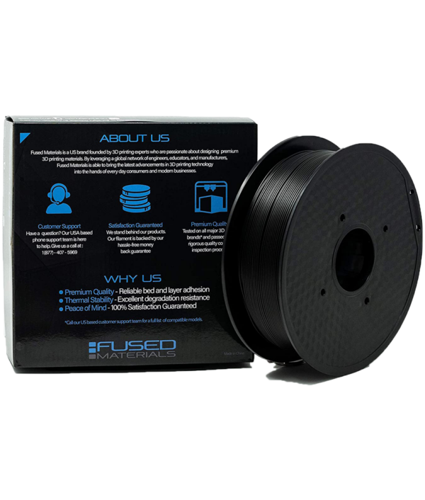 Fused Materials Black PLA 3D Printer Filament - 1kg Spool, 1.75mm, Dimensional Accuracy +/- 0.03 mm, (Black)