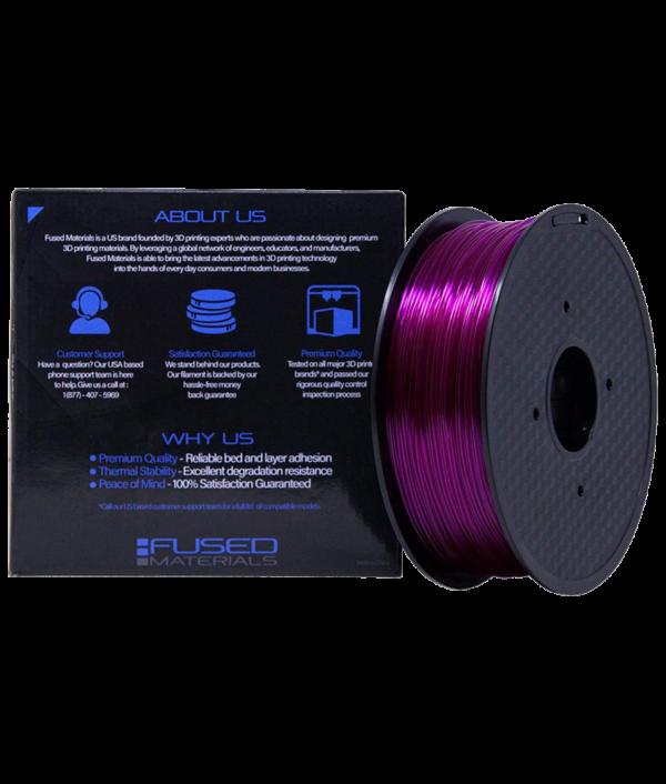 Fused Materials Transparent Purple PETG 3D Printer Filament - 1kg Spool, 1.75mm, Dimensional Accuracy 0.03 mm, (Trans Purple) back