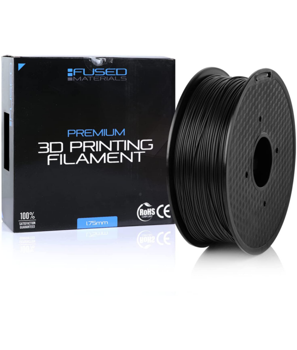 Fused Materials Fireproof Black ABS 3D Printer Filament - 1kg Spool, 1.75mm, Dimensional Accuracy 0.03 mm, (Black) 1