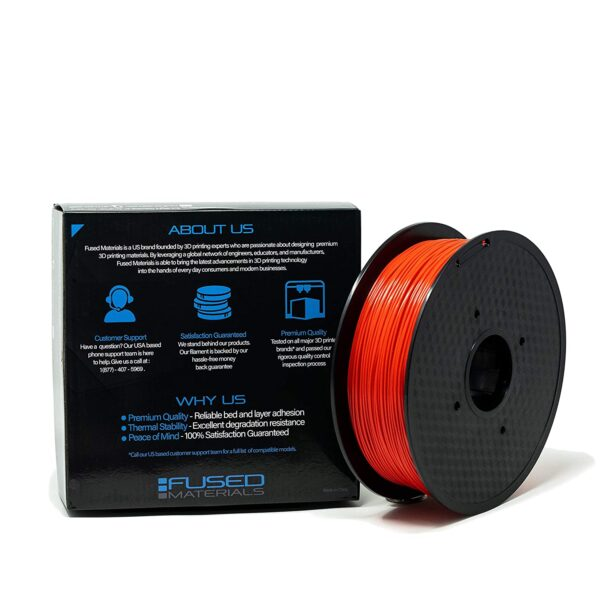 Fused Materials Red PLA 3D Printer Filament - 1kg Spool, 1.75mm, Dimensional Accuracy 0.03 mm, (Red) 1